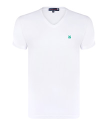 White pure cotton V-neck T-shirt