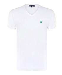 White pure cotton V-neck T-shirt