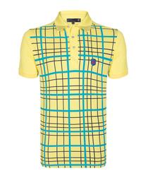 Yellow pure cotton grid print polo shirt