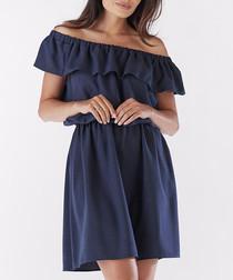 Navy blue flounce dress