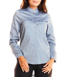 Grey cotton blend blouse