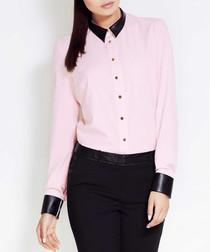 Pink & black contrast blouse