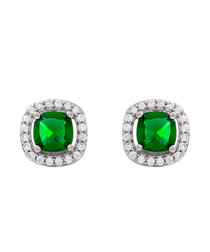 Juliet white gold-plated green earrings