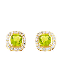 Juliet gold-plated pale lime earrings