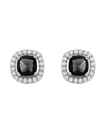 Juliet white gold-plated black earrings