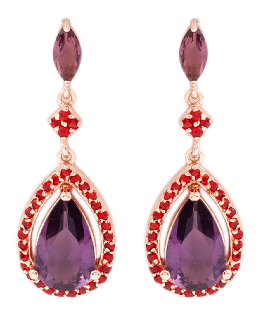 Juliet rose gold-plated plum earrings Sale - bertha