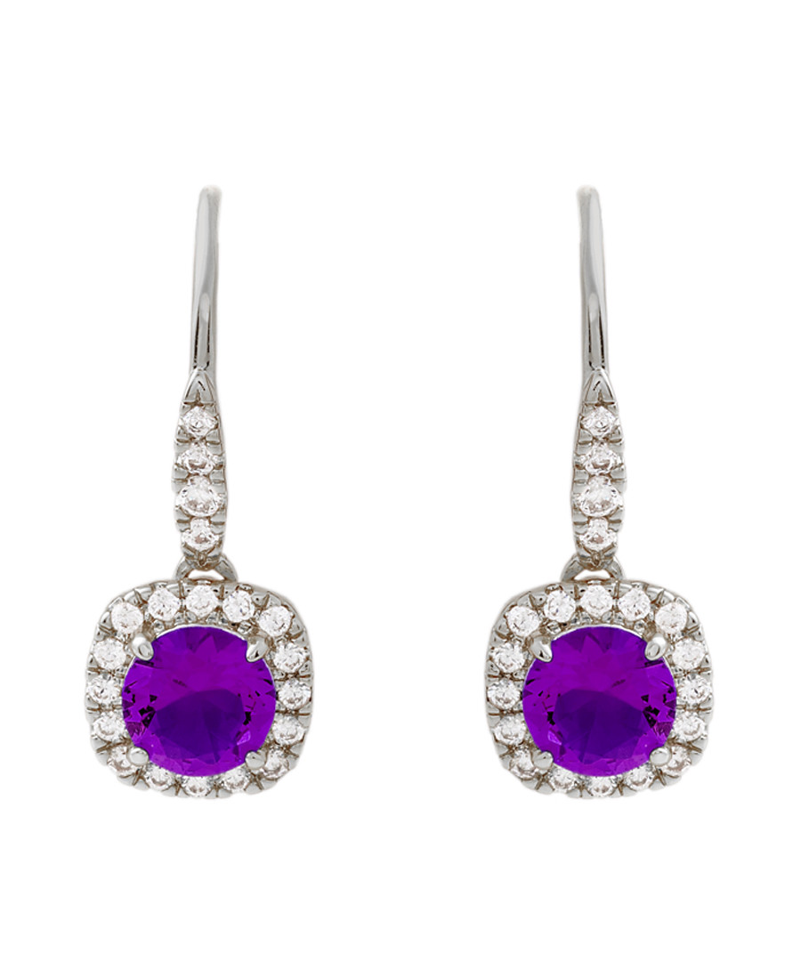 Juliet white gold-plated purple earrings Sale - bertha