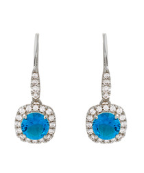 Juliet white gold-plated blue earrings