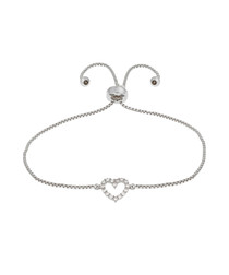 Kennedy white gold-plated heart bracelet