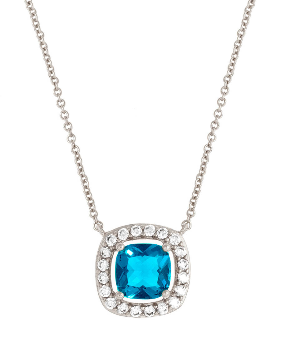 Juliet white gold-plated blue necklace Sale - bertha