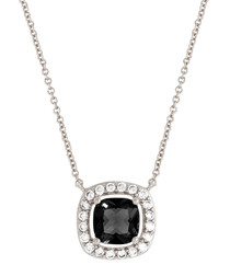 Juliet white gold-plated black necklace