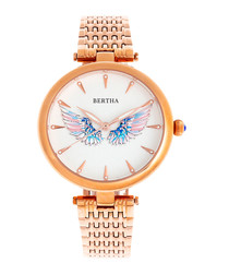 Micah rose gold-tone wings watch