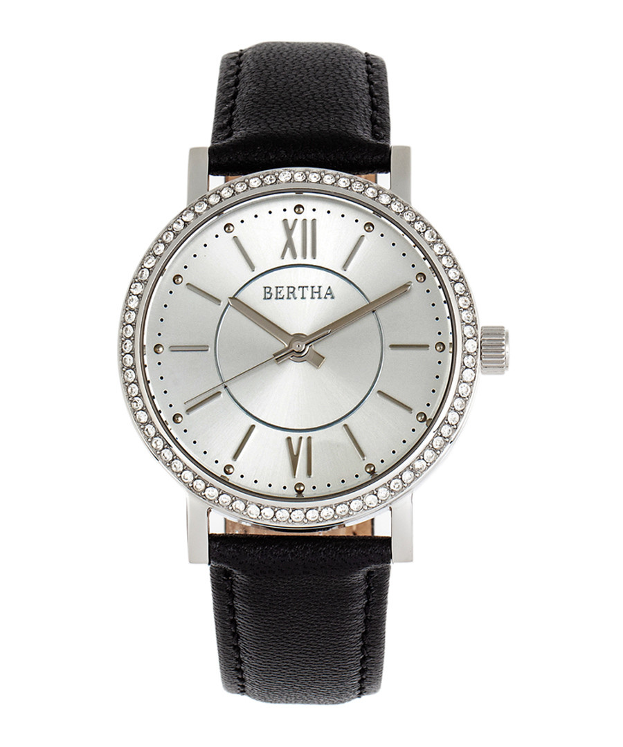 Lydia silver-tone & black leather watch Sale - bertha