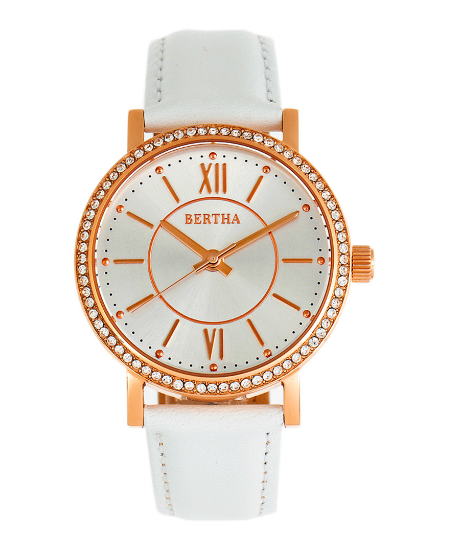Lydia rose-tone & white leather watch Sale - bertha