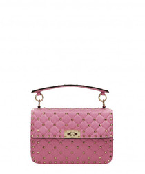 Spike pink leather rockstud crossbody