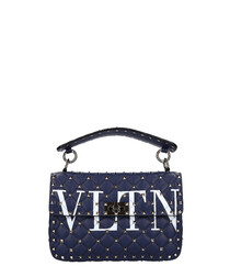 Spike blue leather VLTN crossbody