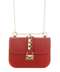 Red leather rockstud lock crossbody