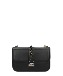 Black leather small lock crossbody
