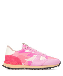 Pink camouflage leather sneakers