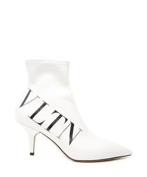 White leather VLTN heeled ankle boots
