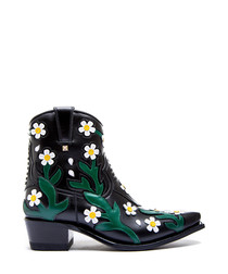 Black leather daisy print Western boots