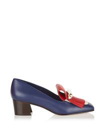 Navy leather fringe heeled loafers