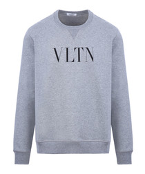 Grey cotton VLTN crew neck sweatshirt
