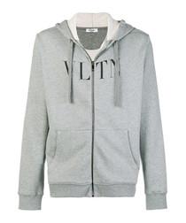 Grey cotton blend VLTN hoodie