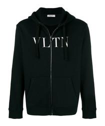 Black cotton blend VLTN hoodie