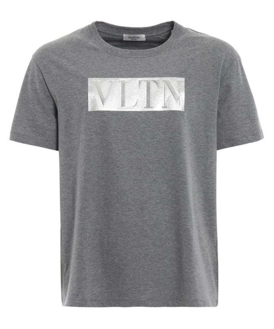 Grey pure cotton laminated VLTN T-shirt Sale - valentino