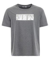 Grey pure cotton laminated VLTN T-shirt