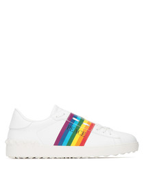 Rainbow leather low-top stripe sneakers