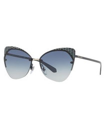 Blue embellished cat eye sunglasses