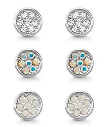 Elsie silver-tone Swarovski earring set