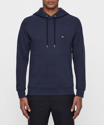 Throw Ring navy pure cotton hoodie