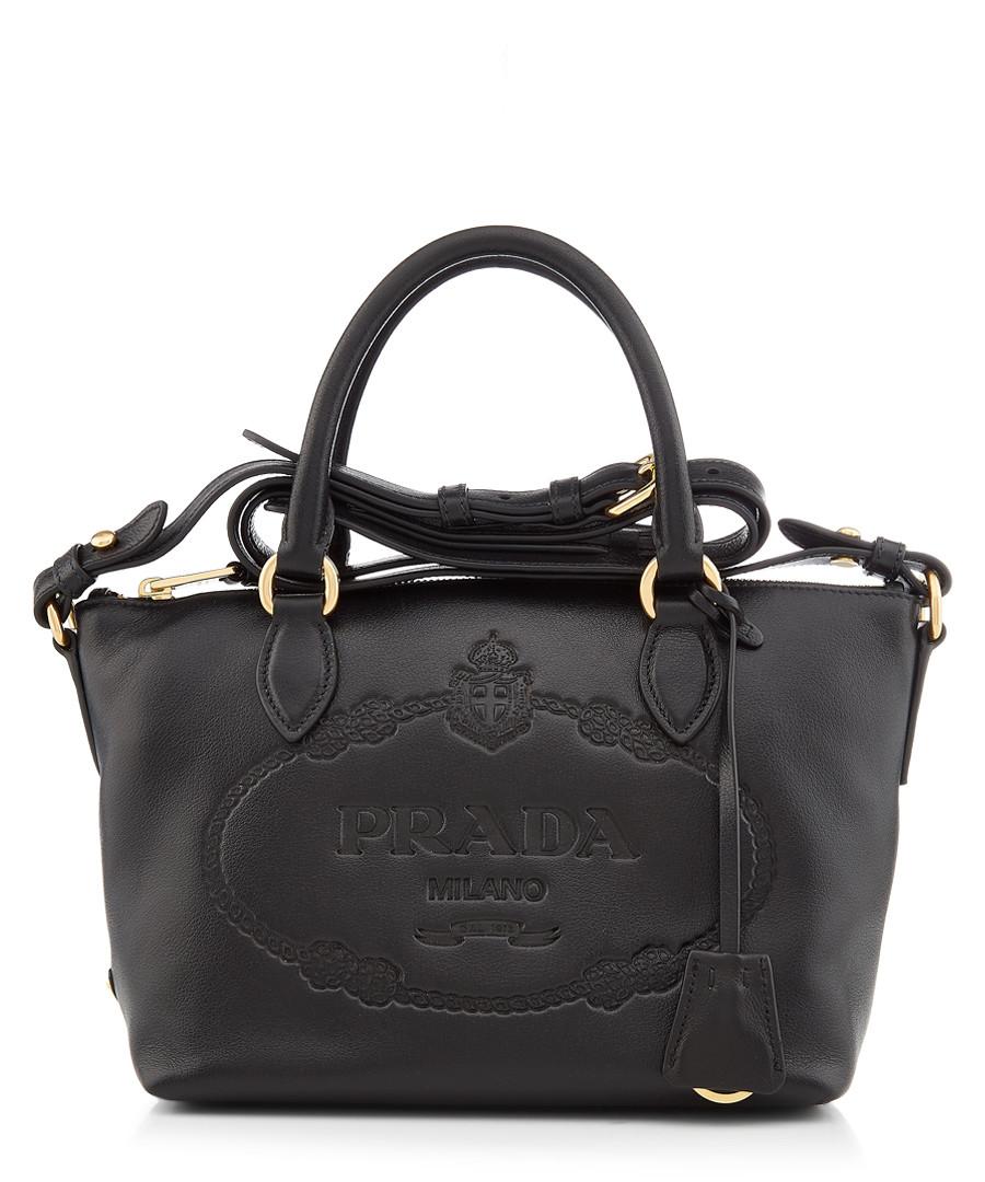 Glace black embossed leather tote Sale - prada