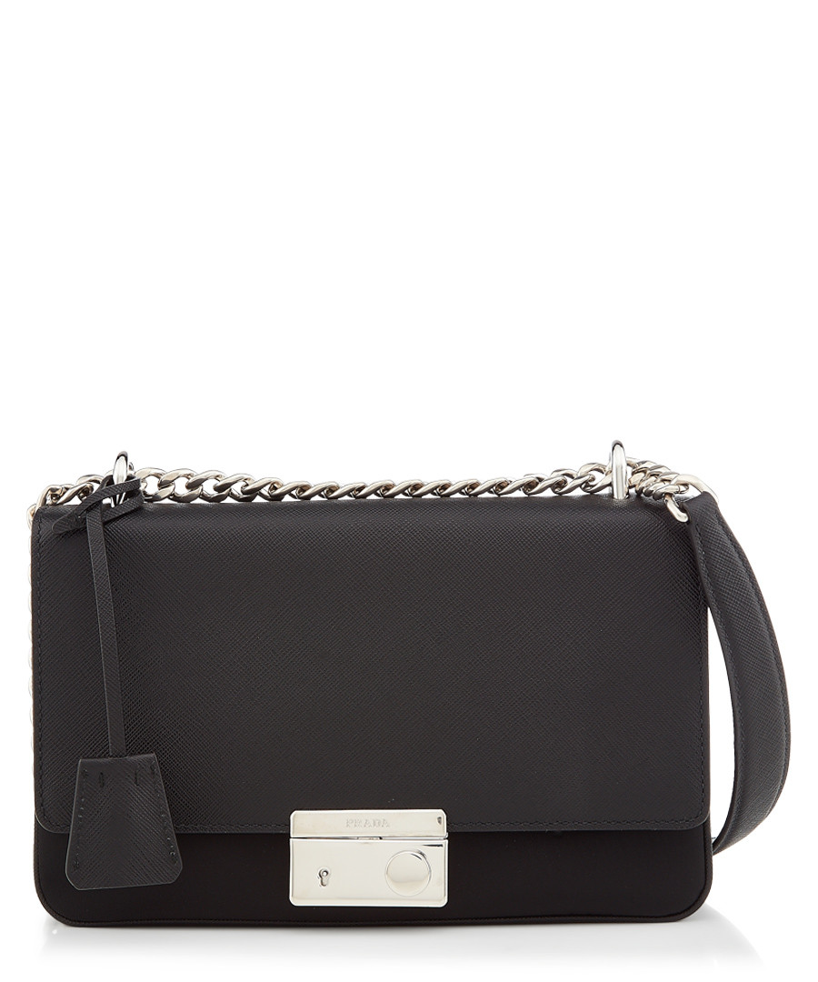 Tessuto black leather fold-over bag Sale - prada