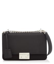 Tessuto black leather fold-over bag
