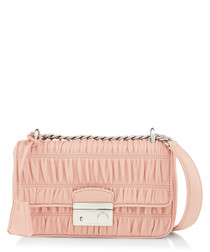 Pink matelasse leather bag