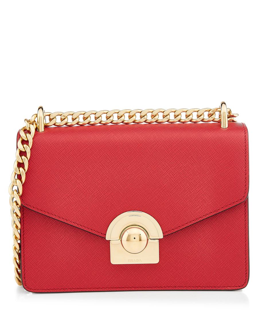 Saffiano red & gold-tone leather bag Sale - prada