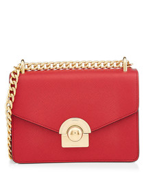 Saffiano red & gold-tone leather bag