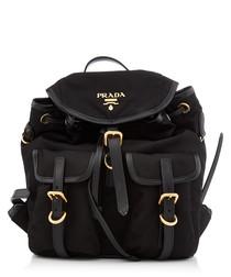 Tessuto black leather trim backpack