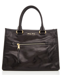 Vitello black leather shopper