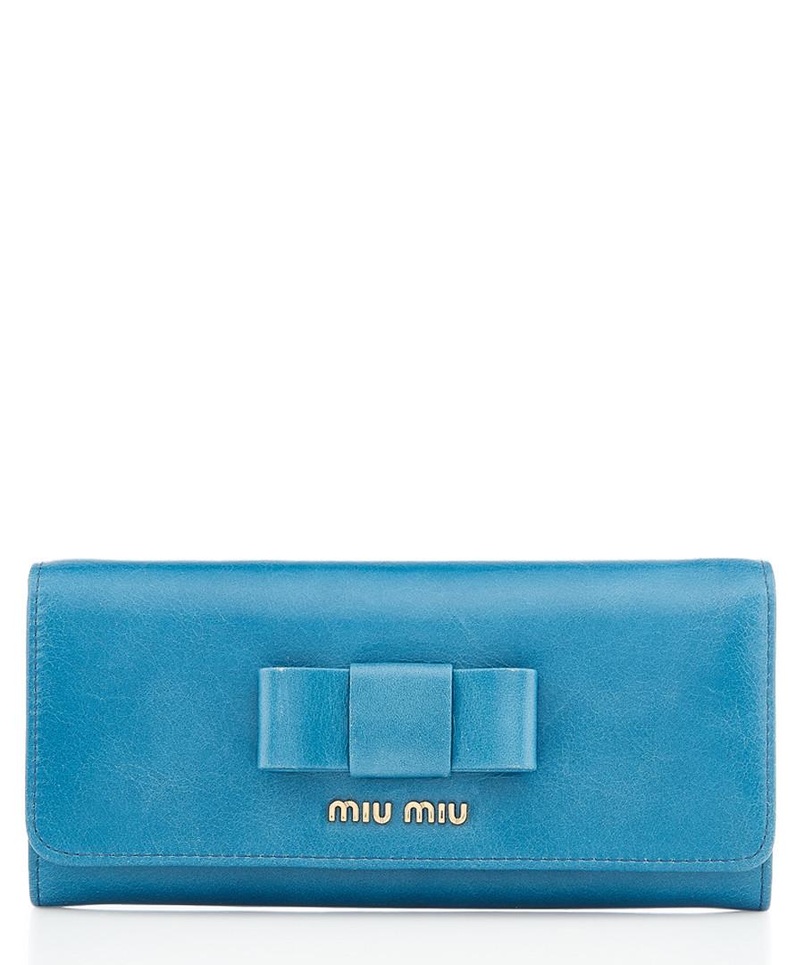 Vitello ocean blue leather wallet Sale - miu miu