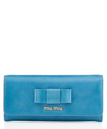 Vitello ocean blue leather wallet