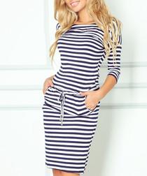 Navy & white stripe knee length dress