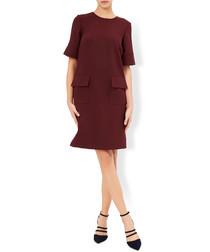 Eliza burgundy pocket detail mini dress