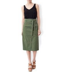 Caitlin green cotton chino skirt