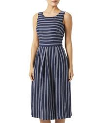 George navy pure linen stripe dress