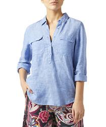 Josephine blue pure linen shirt